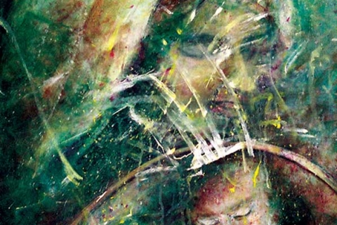 Oceano de sigüieña nostalgica II. 2005. Acrylic, pencil on canvas, 25 x 30 in.