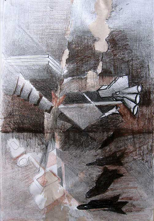 Destructores. 2012. Pencil, charcoal, pastel, water coffee on paper, 14 x 18