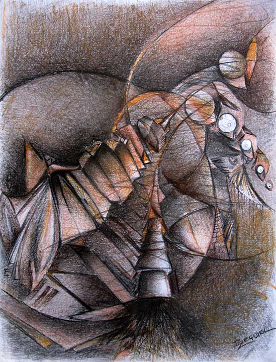 Imaginary war VIII. 2012. Pencil, charcoal, pastel on paper, 24 x 18